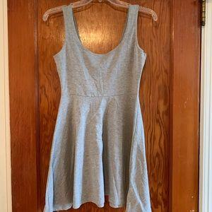 Gray skater mini dress.
